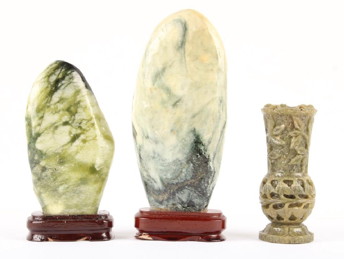 3 CARVED STONE DECORATIVE PIECES - 2