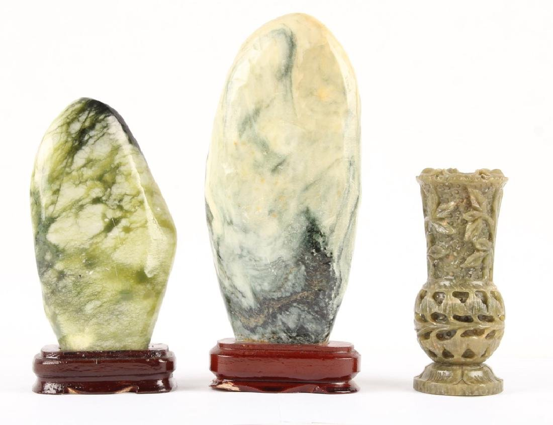 3 CARVED STONE DECORATIVE PIECES - 3