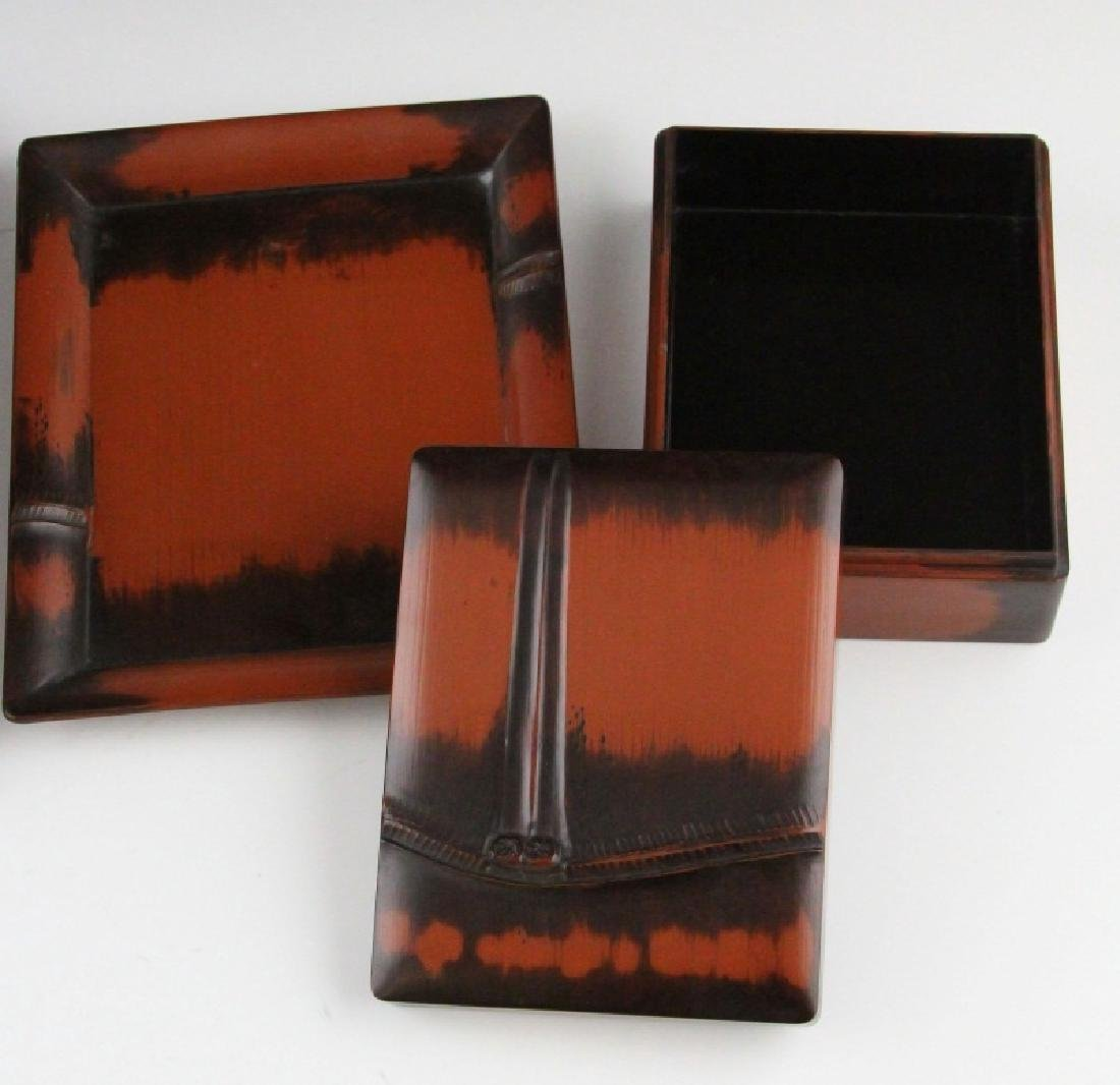 (2) JAPANESE LACQUERWARE BENTO BOXES WITH TRAYS - 2