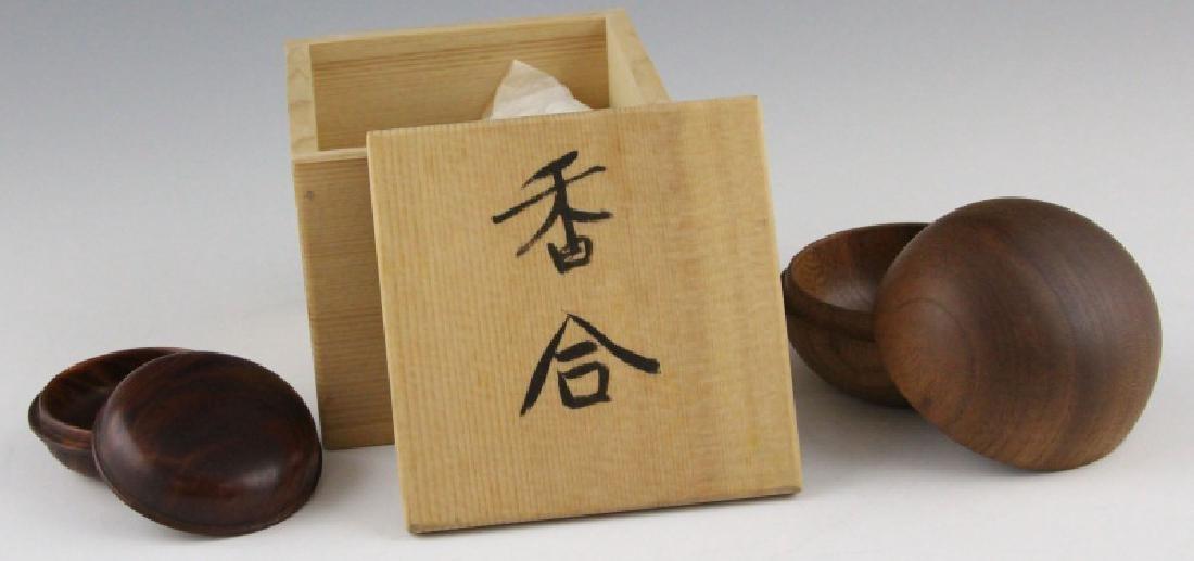 (2) JAPANESE WOOD KOGO INCENSE BOX