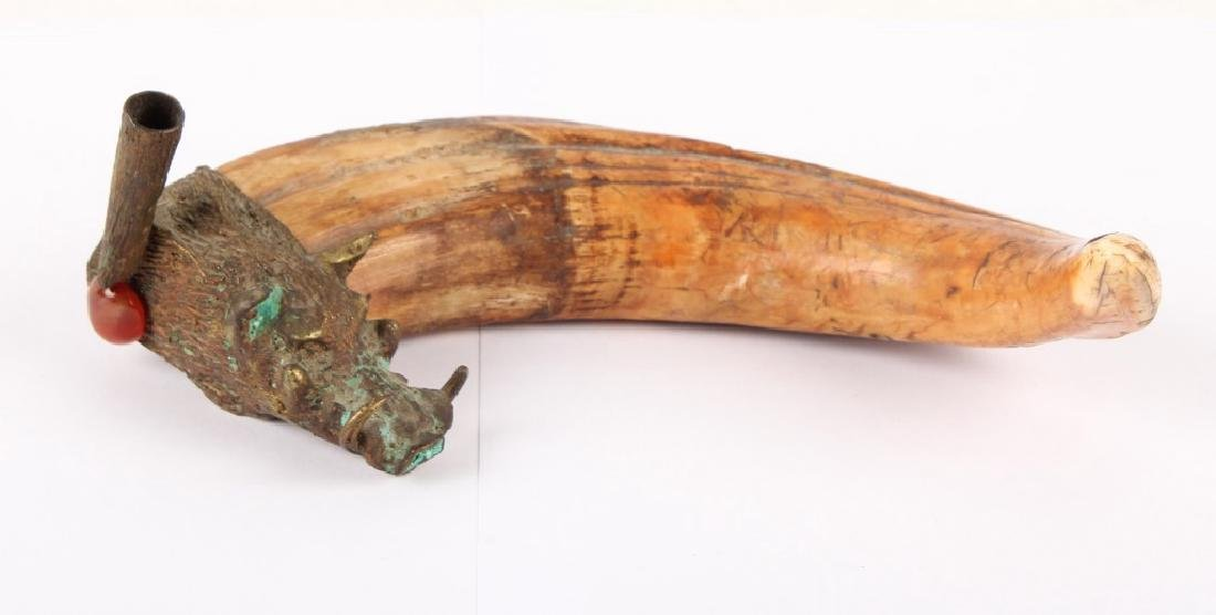 WARTHOG TUSK WITH DECORATIVE BRASS FIXTURE - 2