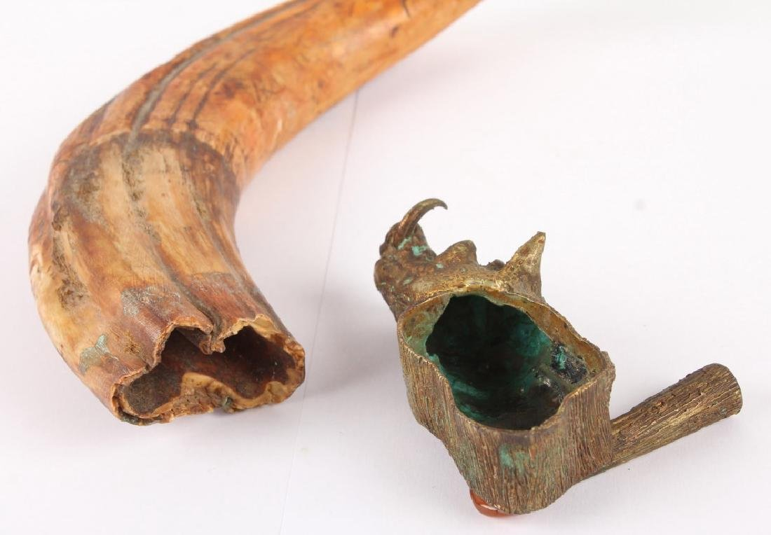 WARTHOG TUSK WITH DECORATIVE BRASS FIXTURE - 4