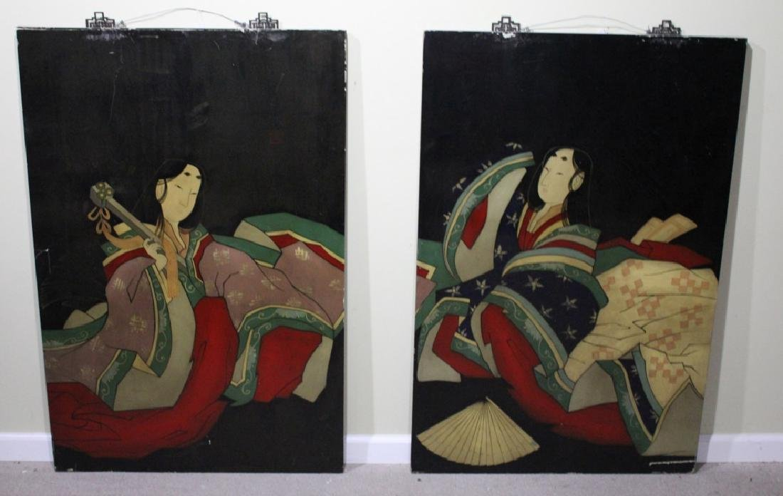 PAIR OF LARGE CHINESE LACQUER WALL HANGINGS