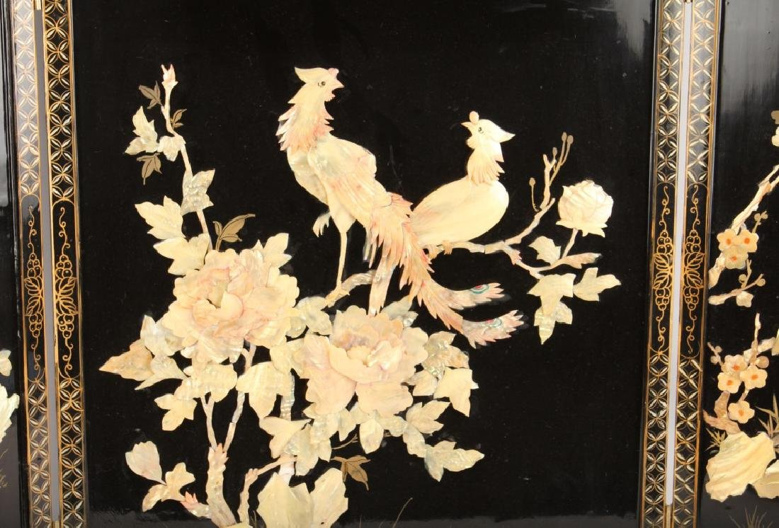 CHINESE WOODEN 3 PANEL SCREEN - 2