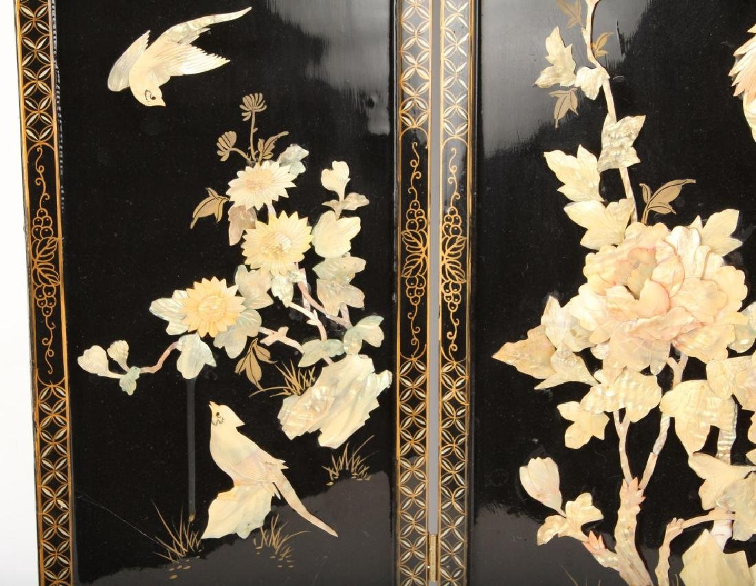 CHINESE WOODEN 3 PANEL SCREEN - 4