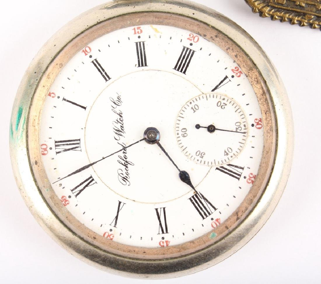 ROCKFORD WATCH CO. SILVER PLATED POCKET WATCH - 2