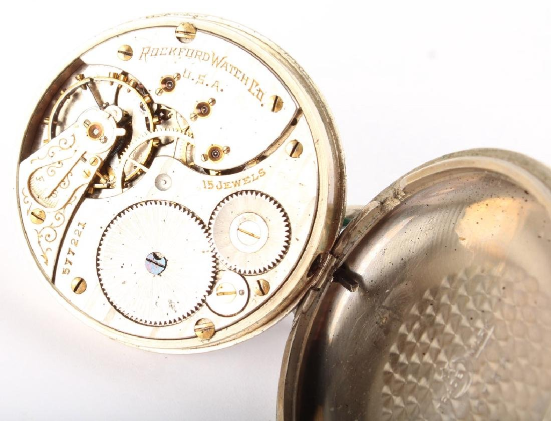 ROCKFORD WATCH CO. SILVER PLATED POCKET WATCH - 4