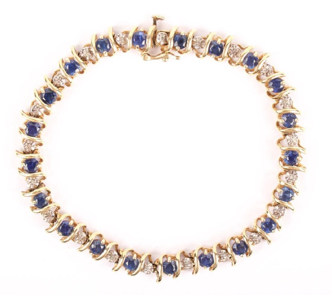 10K YELLOW GOLD DIAMOND & SAPPHIRE BRACELET