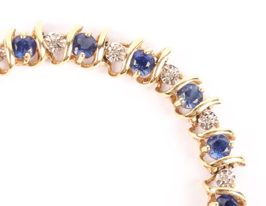 10K YELLOW GOLD DIAMOND & SAPPHIRE BRACELET - 2