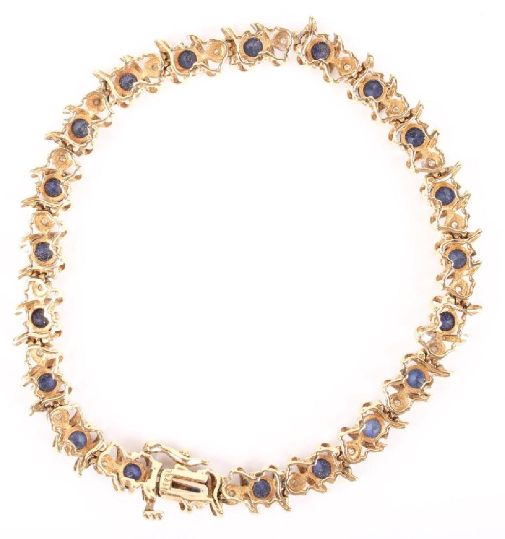 10K YELLOW GOLD DIAMOND & SAPPHIRE BRACELET - 3