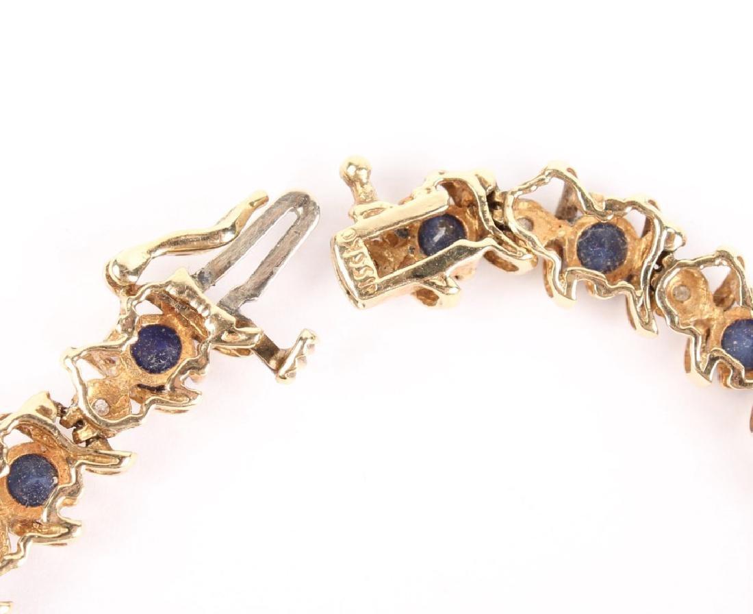 10K YELLOW GOLD DIAMOND & SAPPHIRE BRACELET - 4