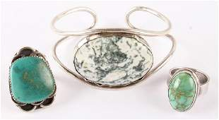 3 PC STERLING SILVER TURQUOISE AGATE JEWELRY LOT