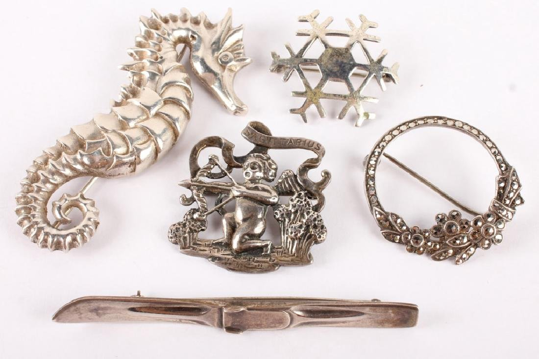 5 STERLING SILVER BROOCHES