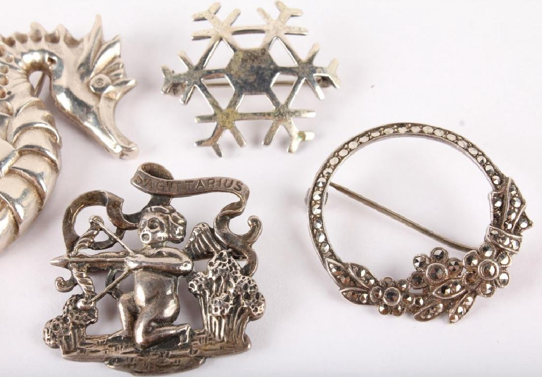 5 STERLING SILVER BROOCHES - 3