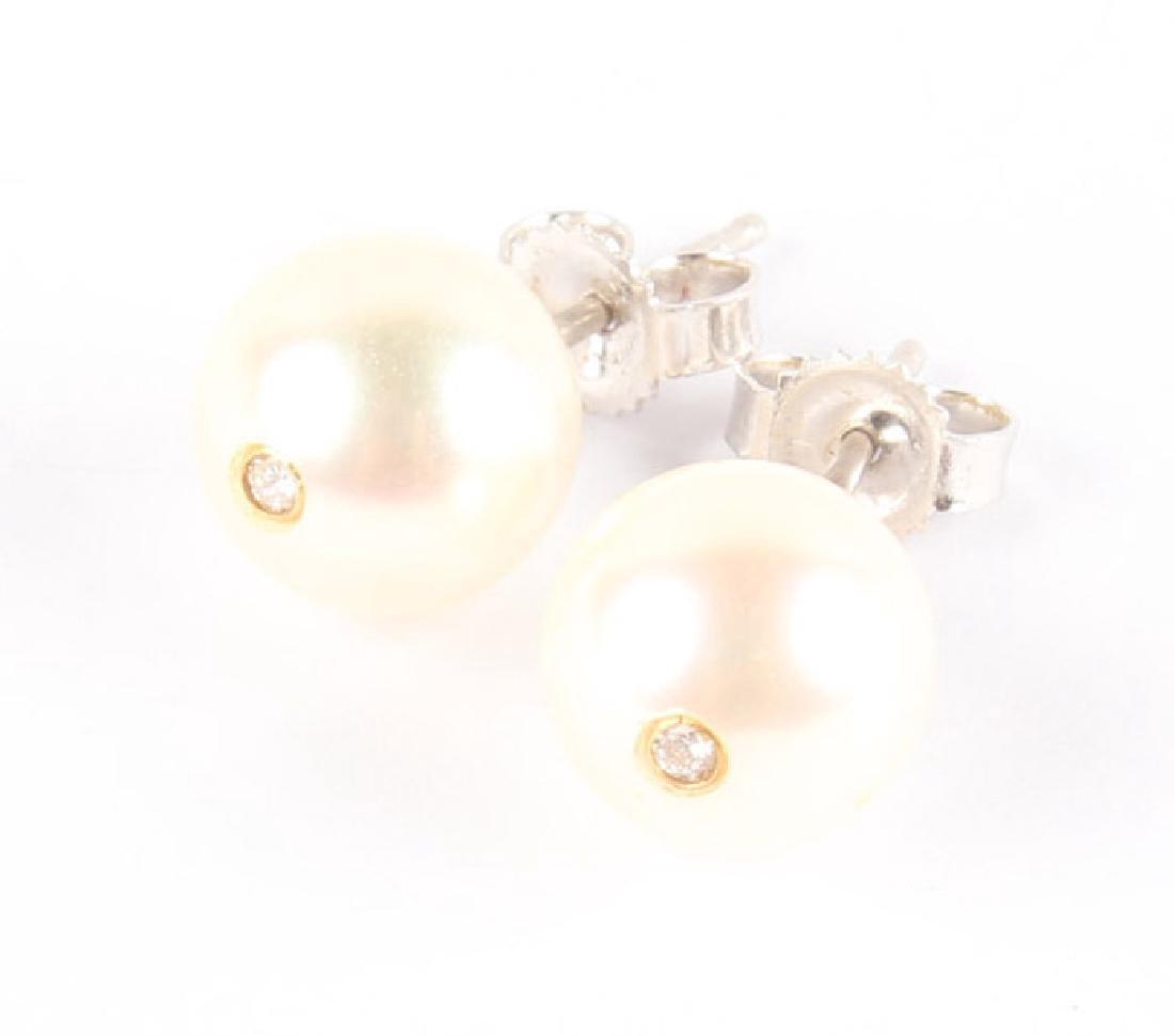14K WHITE GOLD PEARL DIAMOMD STUD EARRINGS - 3
