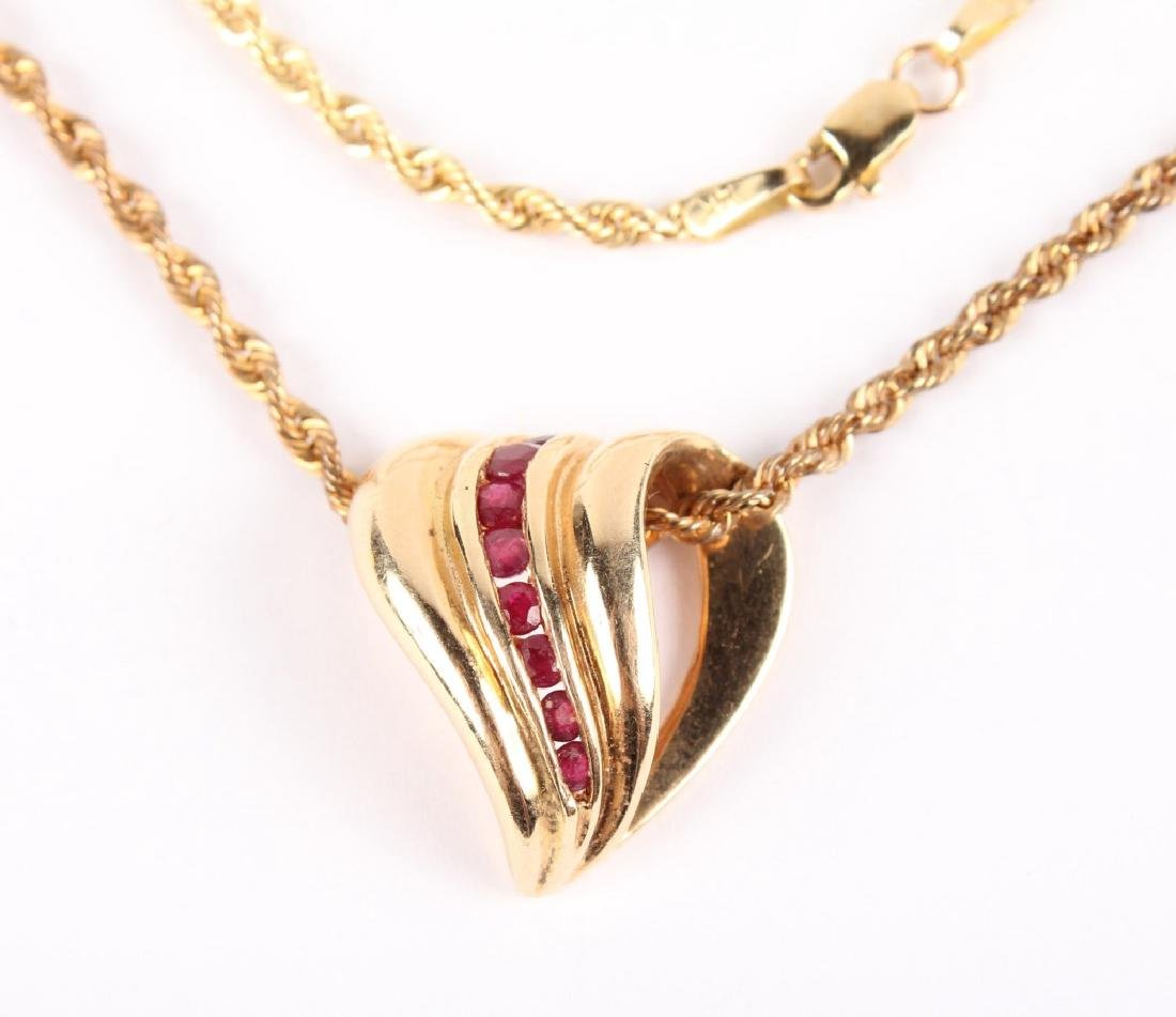 LADIES 14K YELLOW GOLD RUBY NECKLACE - 2