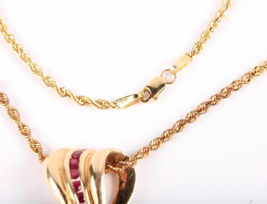 LADIES 14K YELLOW GOLD RUBY NECKLACE - 3