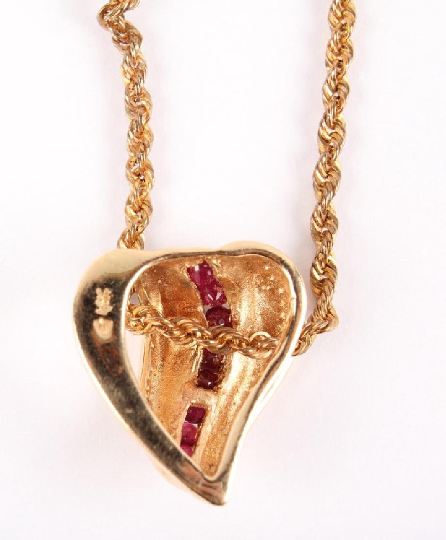 LADIES 14K YELLOW GOLD RUBY NECKLACE - 4