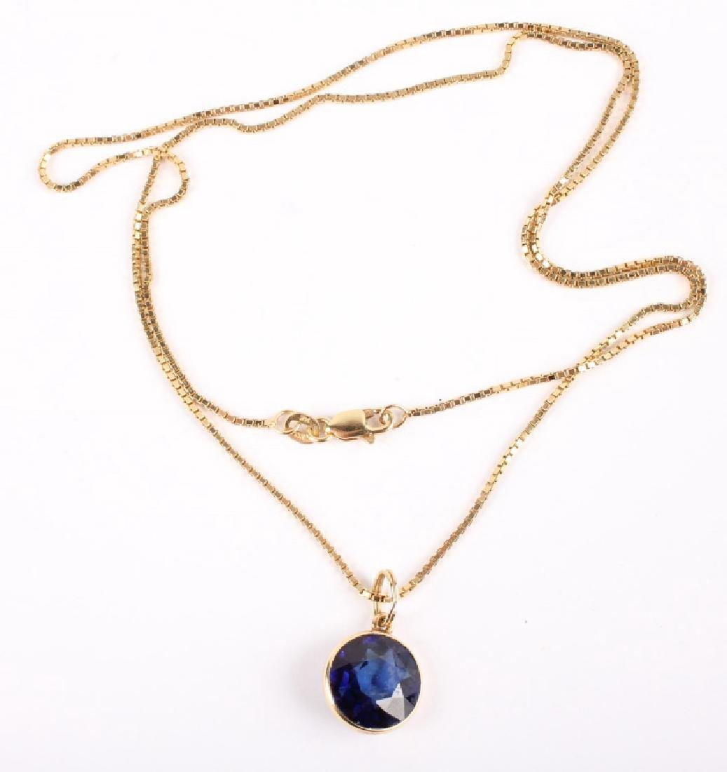 LADIES 14K YELLOW GOLD SAPPHIRE NECKLACE
