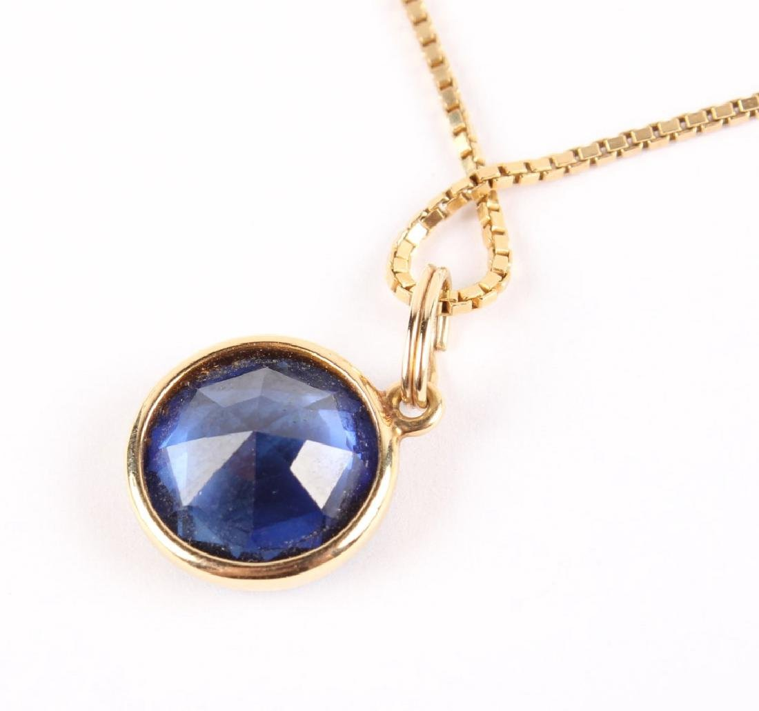 LADIES 14K YELLOW GOLD SAPPHIRE NECKLACE - 4