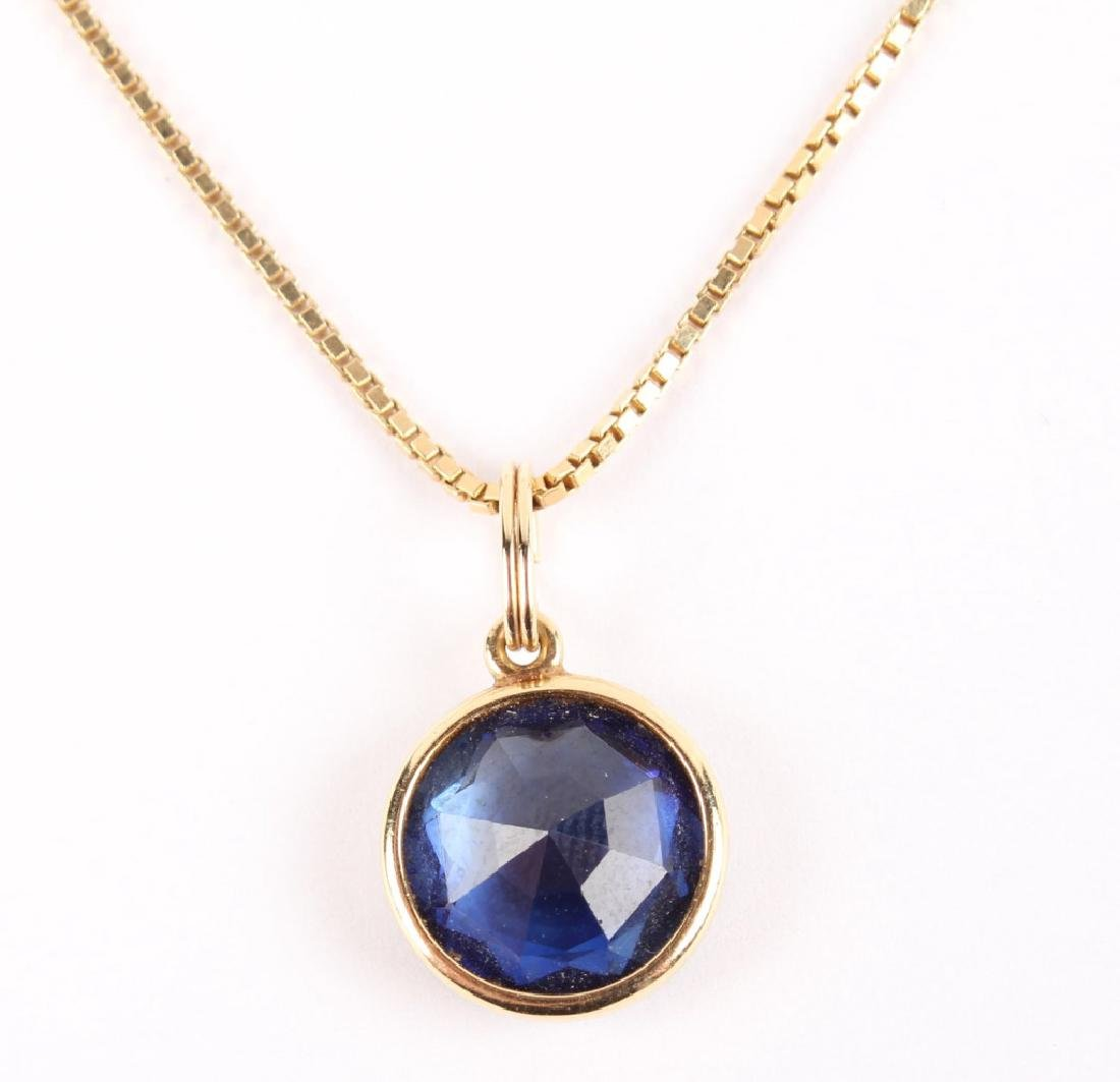 LADIES 14K YELLOW GOLD SAPPHIRE NECKLACE - 5