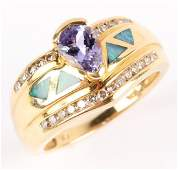 LADIES 14K YELLOW GOLD TANZANITE DIAMOND OPAL RING