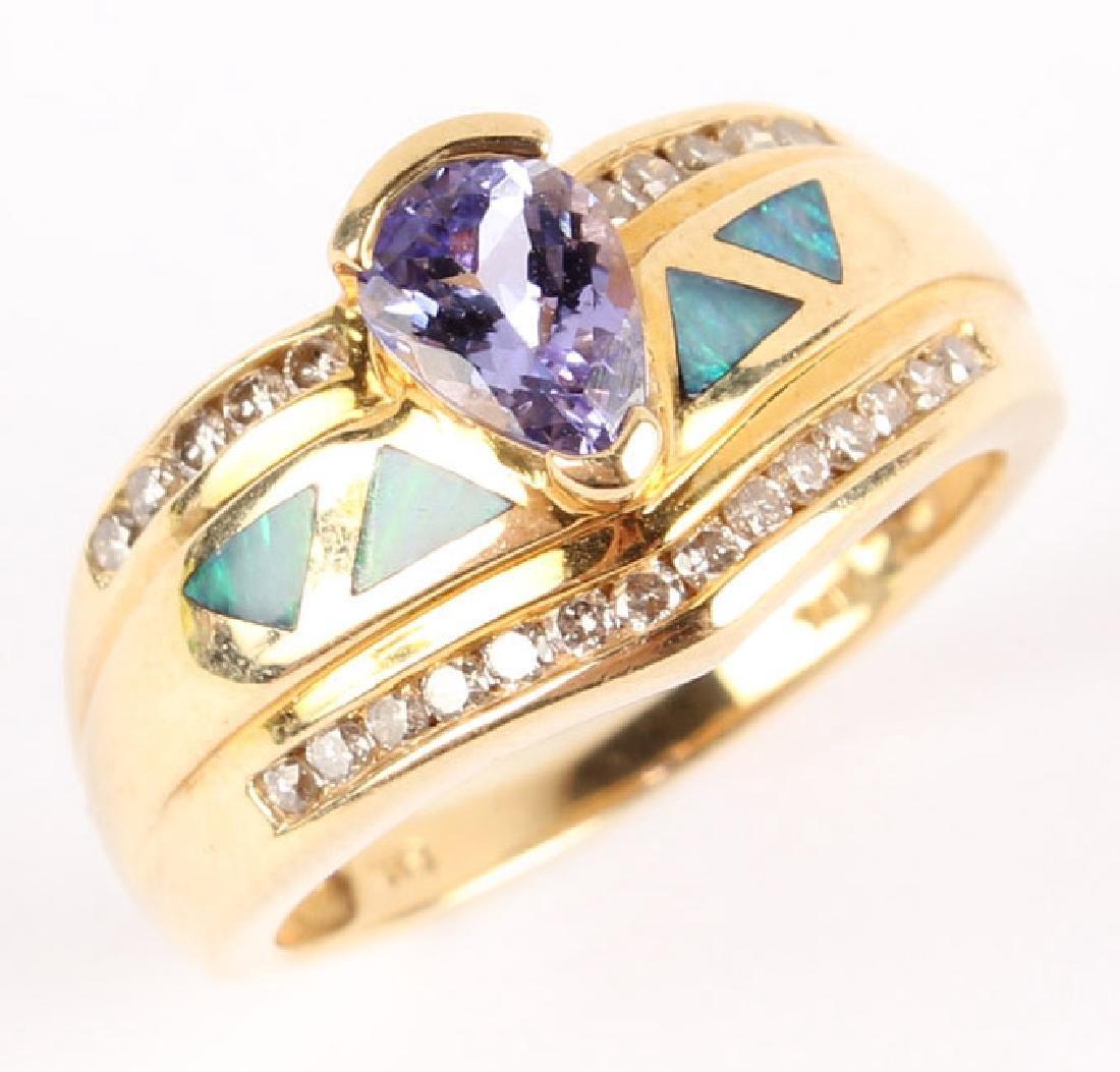 LADIES 14K YELLOW GOLD TANZANITE DIAMOND OPAL RING