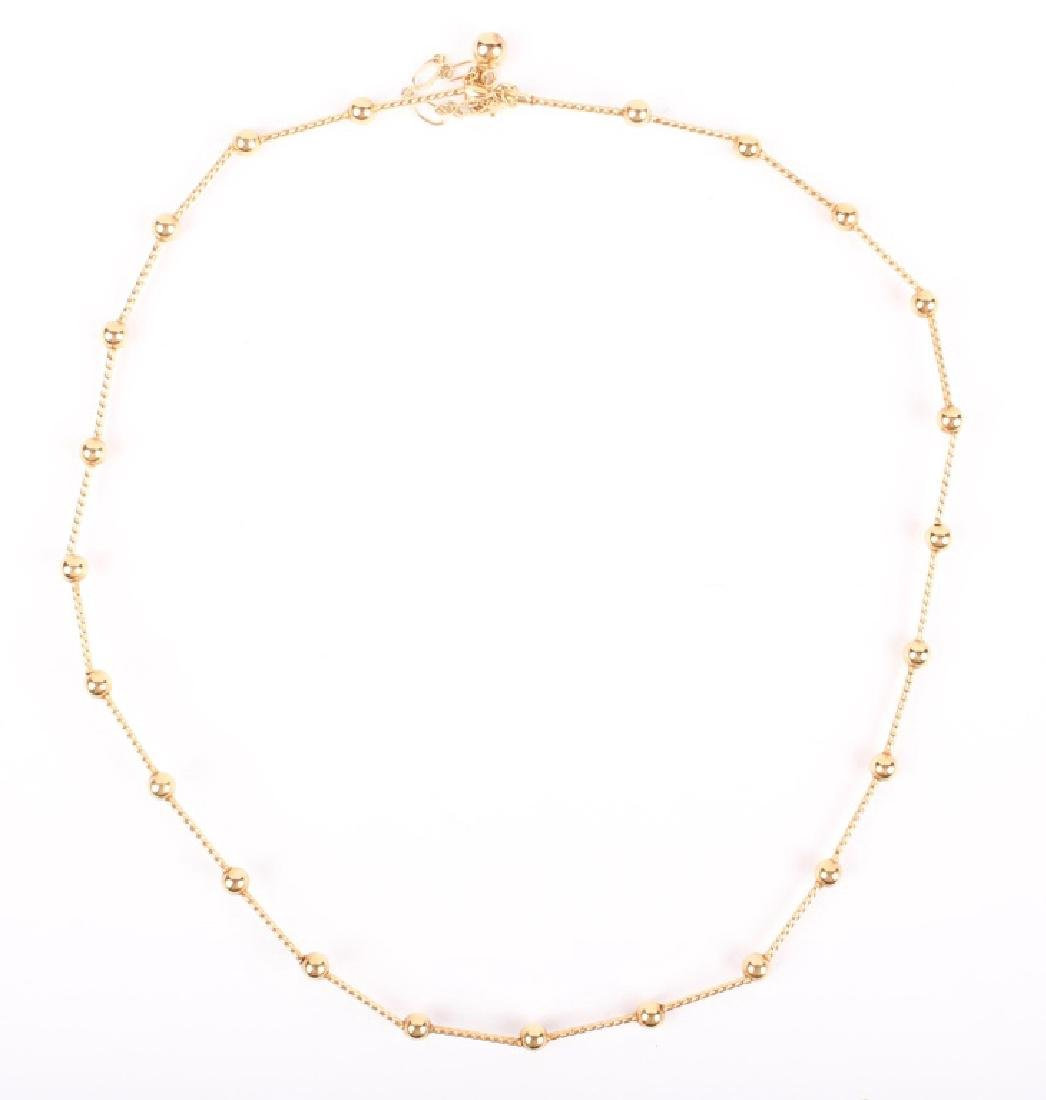 LADIES 14K YELLOW GOLD BALL NECKLACE
