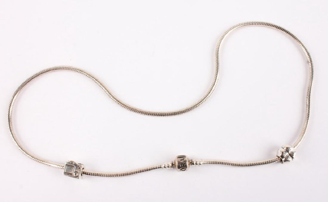 LADIES STERLING SILVER PANDORA CHARM NECKLACE