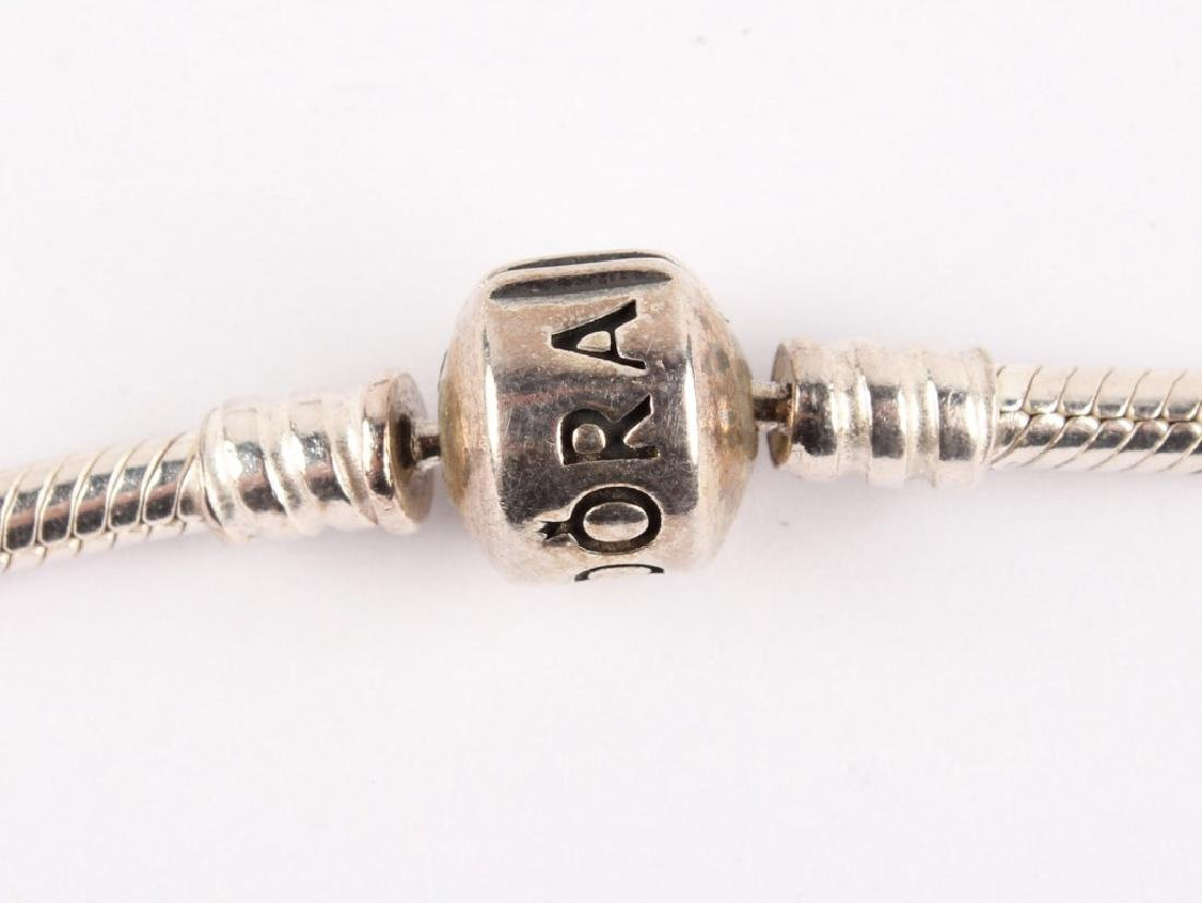 LADIES STERLING SILVER PANDORA CHARM NECKLACE - 2