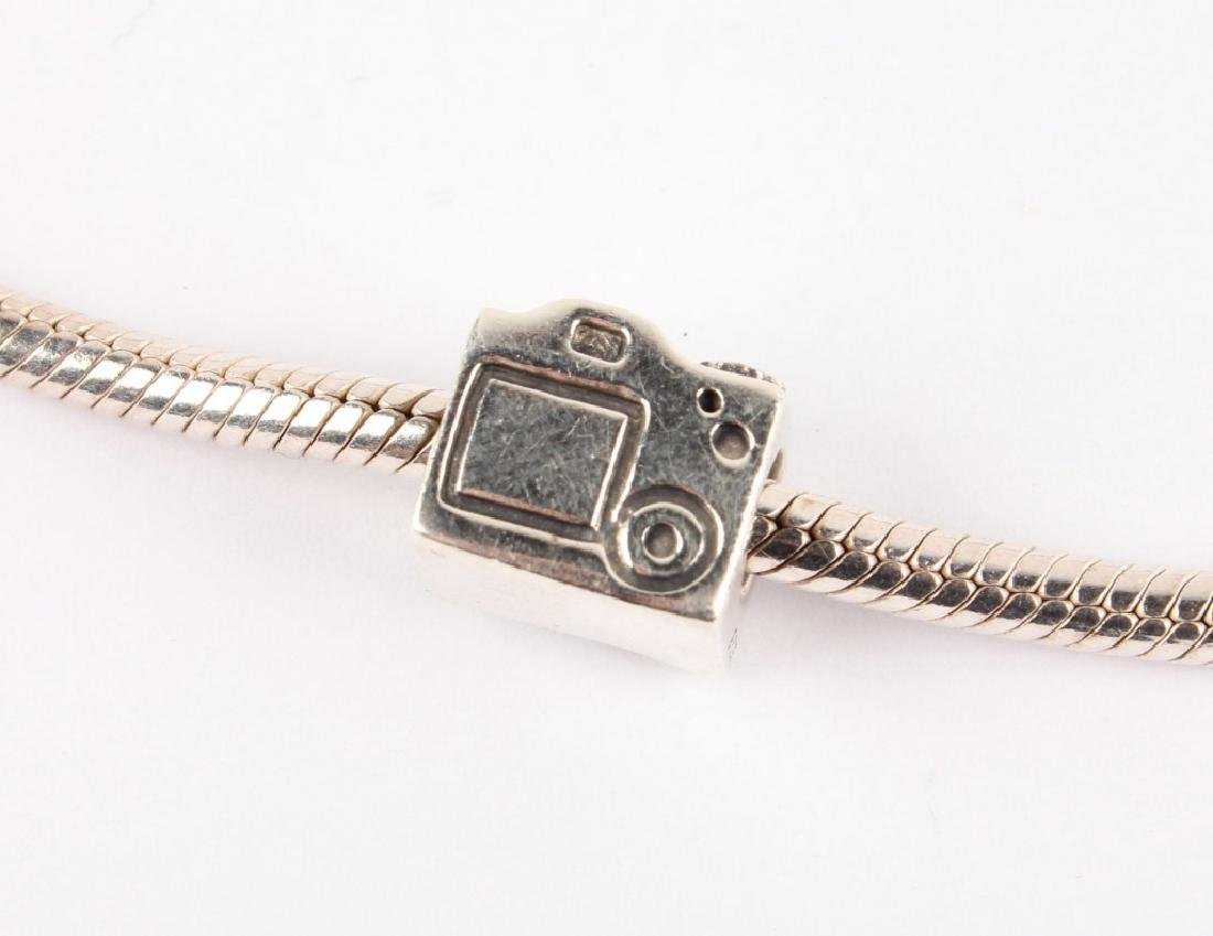 LADIES STERLING SILVER PANDORA CHARM NECKLACE - 3