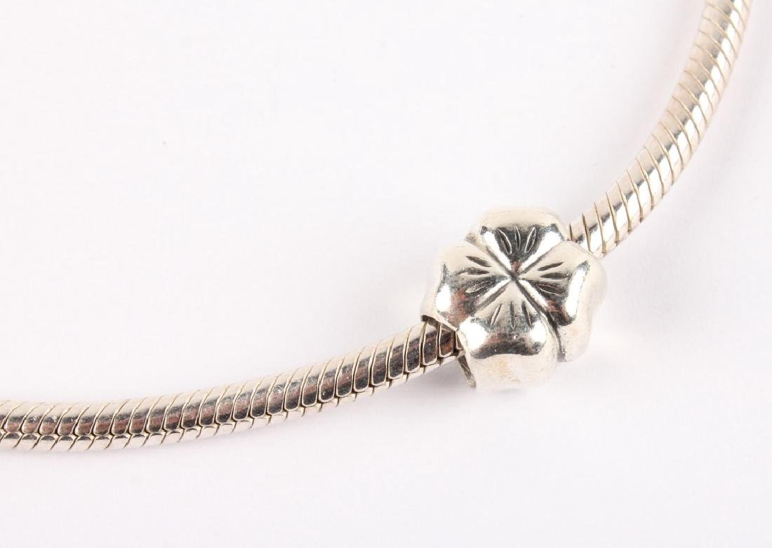 LADIES STERLING SILVER PANDORA CHARM NECKLACE - 4