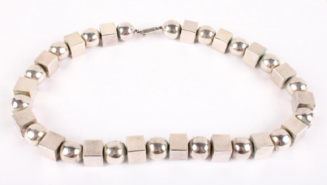TAXCO STERLING SILVER MODERNIST CUBE NECKLACE