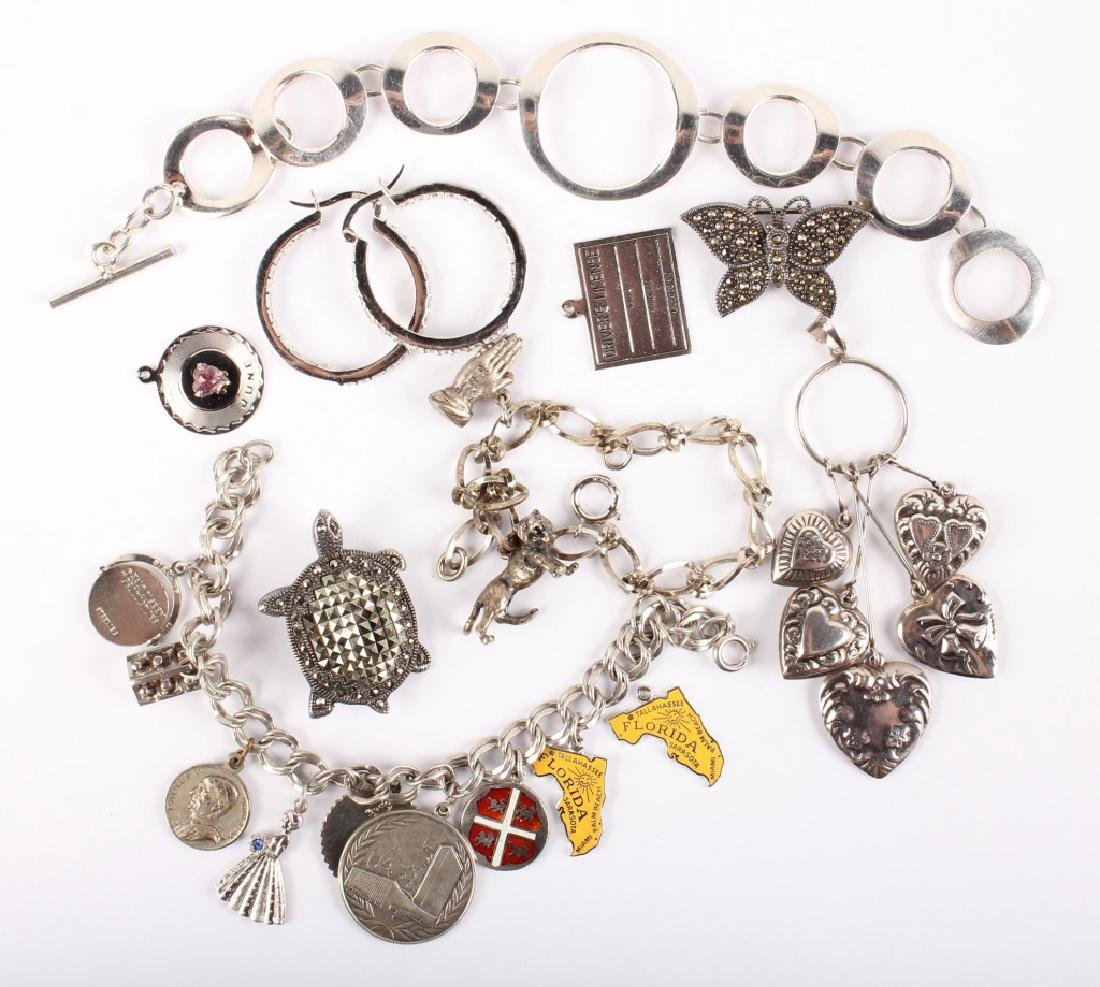 MIXED STERLING SILVER CHARMS AND BRACELETS