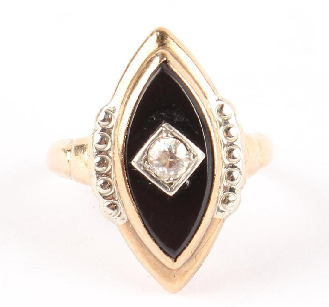 10K YELLOW GOLD ONYX & DIAMOND RING - 2