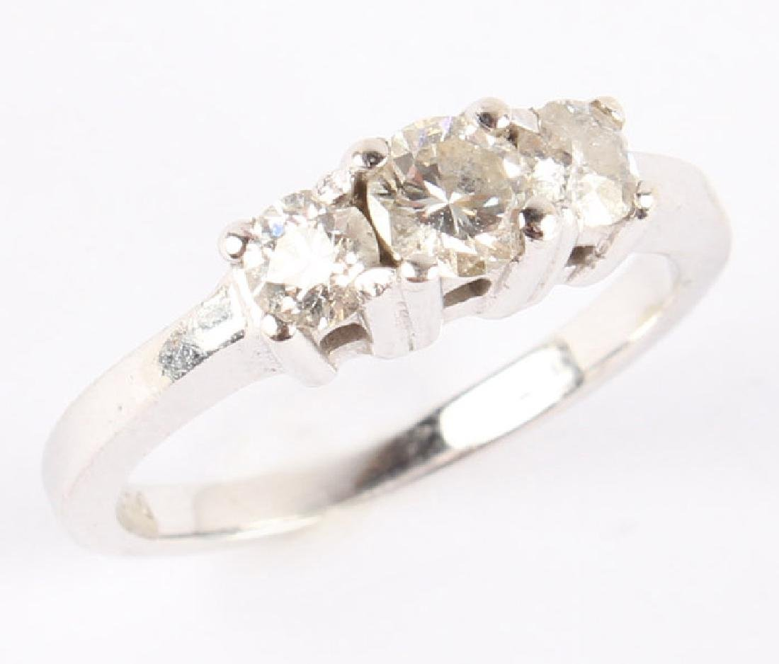 14K WHITE GOLD DIAMOND PAST PRESENT FUTURE RING