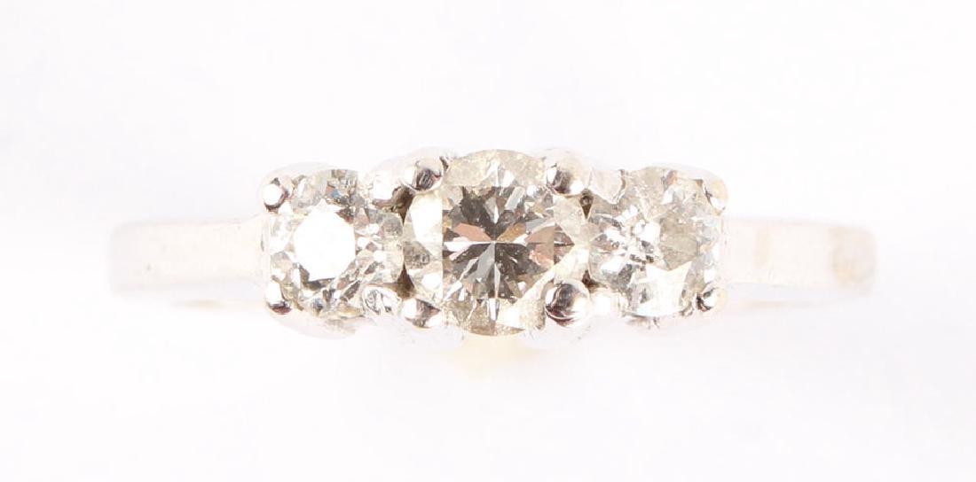 14K WHITE GOLD DIAMOND PAST PRESENT FUTURE RING - 2