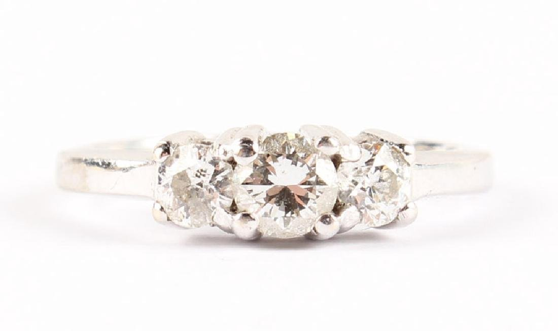 14K WHITE GOLD DIAMOND PAST PRESENT FUTURE RING - 3