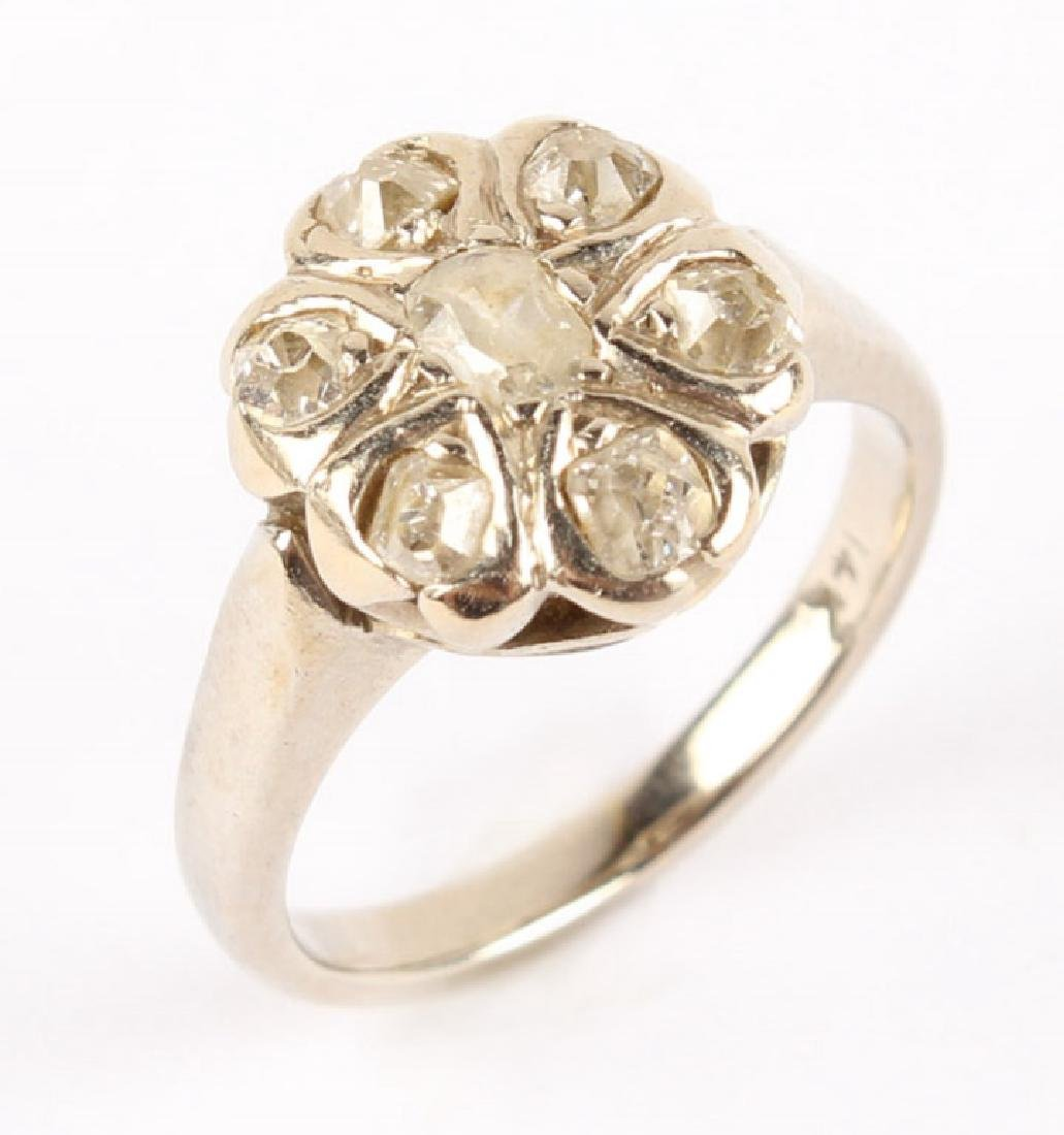 ANTIQUE 14K WHITE GOLD DIAMOND RING