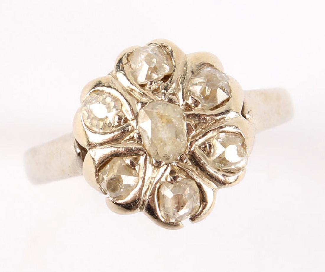 ANTIQUE 14K WHITE GOLD DIAMOND RING - 2