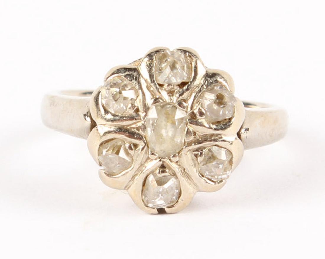 ANTIQUE 14K WHITE GOLD DIAMOND RING - 3