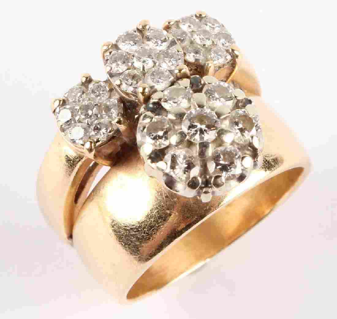 LADIES 14K YELLOW GOLD DIAMOND FASHION RING