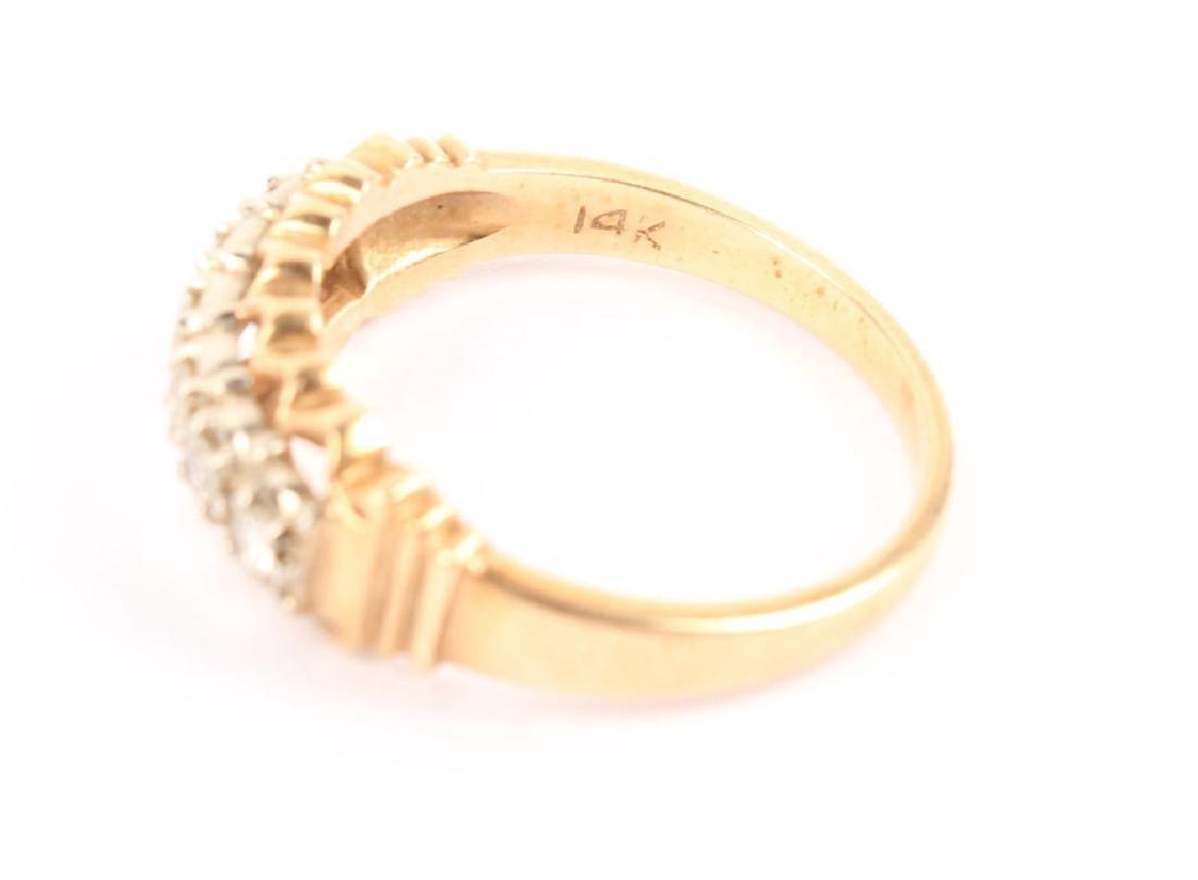LADIES 14K YELLOW GOLD DIAMOND FASHION RING - 2