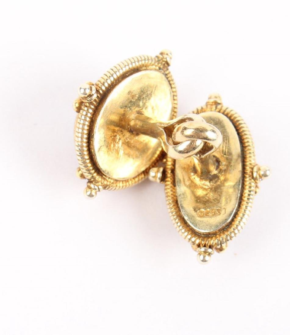 MEN'S GARNET & GOLD OVER STERLING SILVER CUFFLINKS - 2
