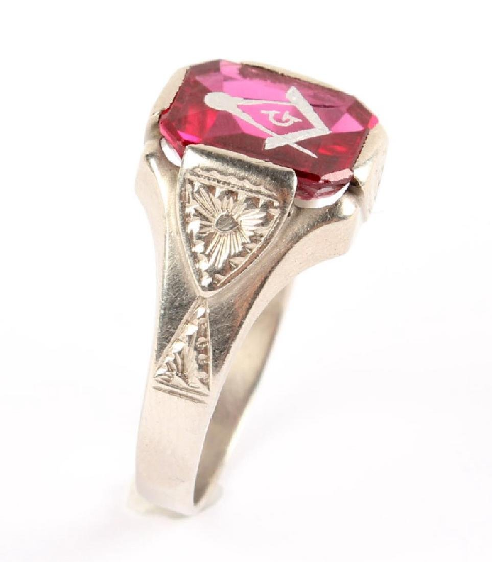 MENS 14K WHITE GOLD & RED SPINEL MASONIC RING - 2