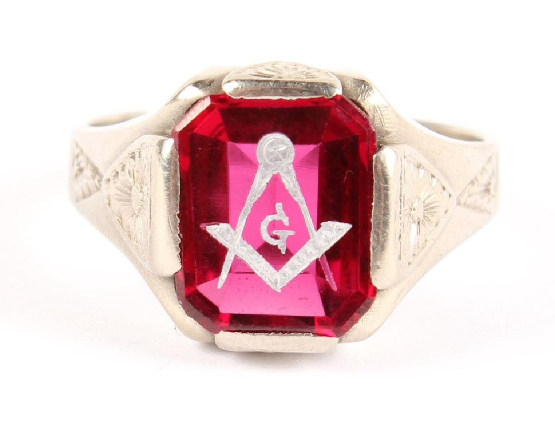 MENS 14K WHITE GOLD & RED SPINEL MASONIC RING - 3