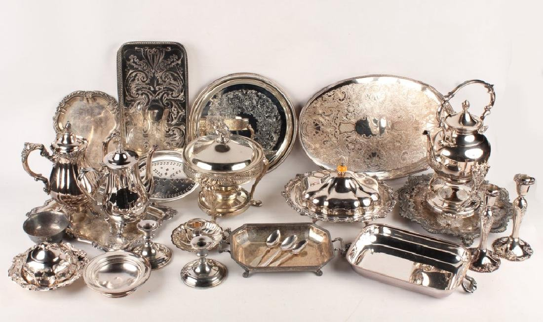 LARGE LOT OF SILVER PLATED ITEMS