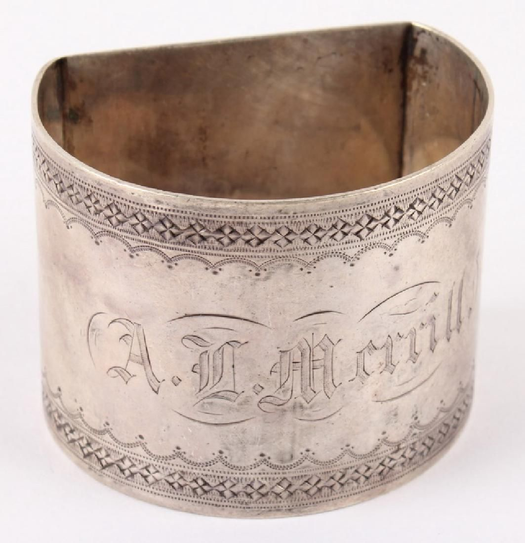 COIN SILVER NAPKIN RING DATED FEB. 1869