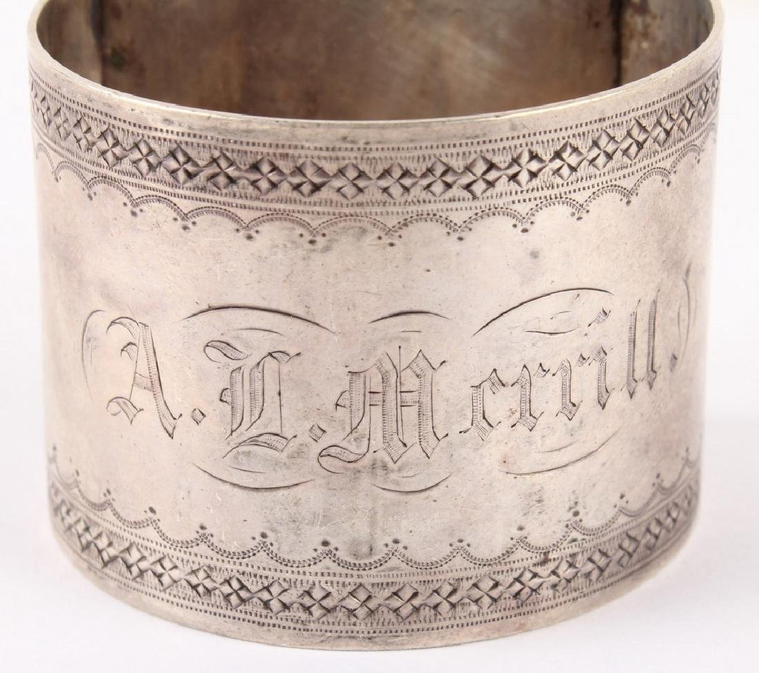 COIN SILVER NAPKIN RING DATED FEB. 1869 - 2