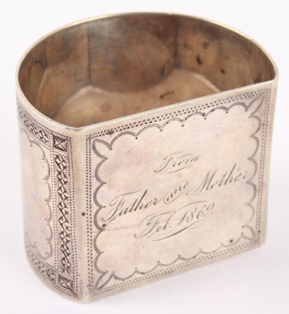COIN SILVER NAPKIN RING DATED FEB. 1869 - 3